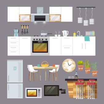 Móveis de cozinha flat