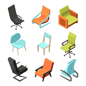 Móveis de escritório. cadeiras e poltronas diferentes de couro. imagens isométricas