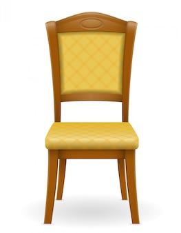 Móveis de madeira cadeira com encosto acolchoado e assentos ilustração vetorial