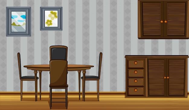 Móveis de madeira em uma casa