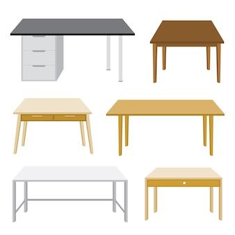 Móveis de madeira mesa isolada illustratio