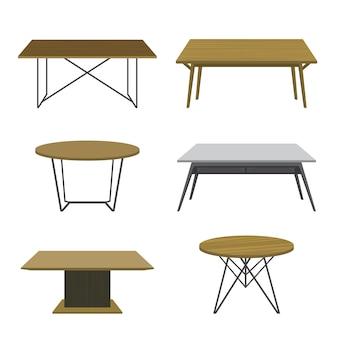 Móveis de madeira mesa isolada vector