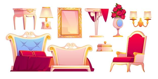 Móveis de ouro de luxo para o quarto real
