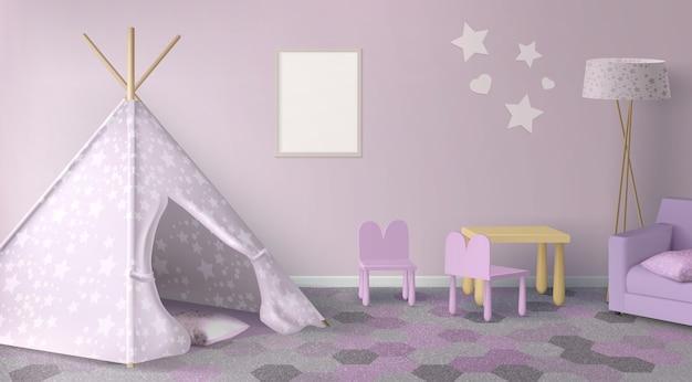 Móveis de quarto femininos escandinavos realistas