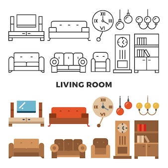 Móveis de sala de estar e coleção de acessórios