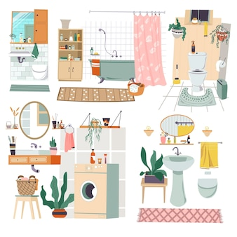 Móveis e decoração de design de interiores para banheiros