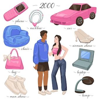 Móveis e objetos de uso pessoal, estilo e moda dos anos 2000. homem e mulher vestindo jeans e moletom. celular rosa e laptop, sapatos e cadeira, carro e design da lâmpada. vetor em estilo simples