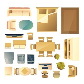 Móveis e utensílios de cozinha, vista superior dos desenhos animados