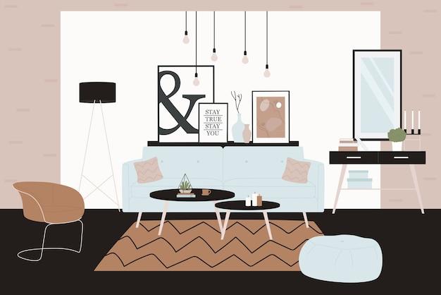 Móveis elegantes e confortáveis e decorações para a casa no estilo higiênico escandinavo