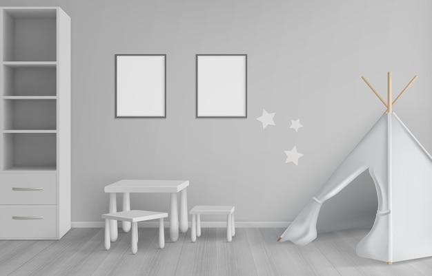 Móveis escandinavos realistas para quarto