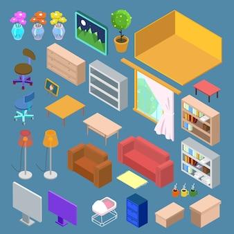 Móveis isométricos. planejamento isométrico de sala de estar. objetos de interiores isométricos.