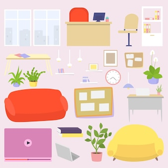 Móveis para escritório aconchegante, ilustração vetorial. interior moderno da sala por objeto de cadeira, sofá, mesa e lâmpada, coleção. livros, reprodutor de vídeo, planta