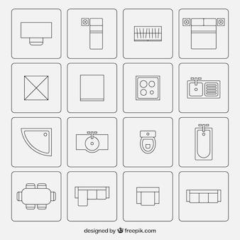 Móveis símbolos usados em planos de arquitetura