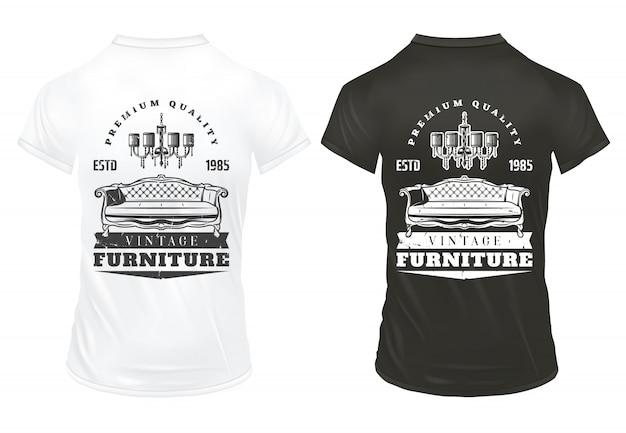 Móveis vintage imprime modelo com lustre de sofá retrô inscrições em camisas preto e brancas