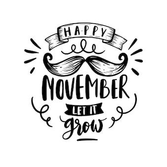 Movember consciência com letras