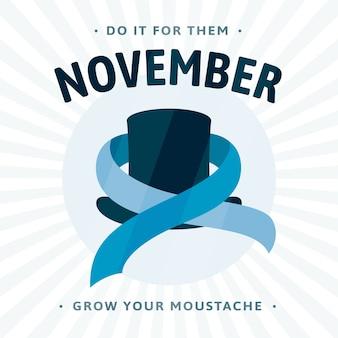 Movember de bigode em design plano