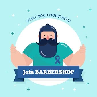 Movember em design plano