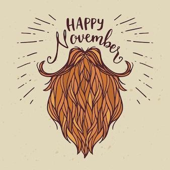 Movember feliz mão fundo desenhado