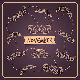 Movember fundo do vintage de esboços bigodes