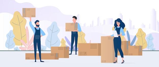 Movendo banner para casa. mudando de casa para um novo lugar. movers carregam caixas. caixas de papelão. o conceito de transporte e entrega de mercadorias. vetor.