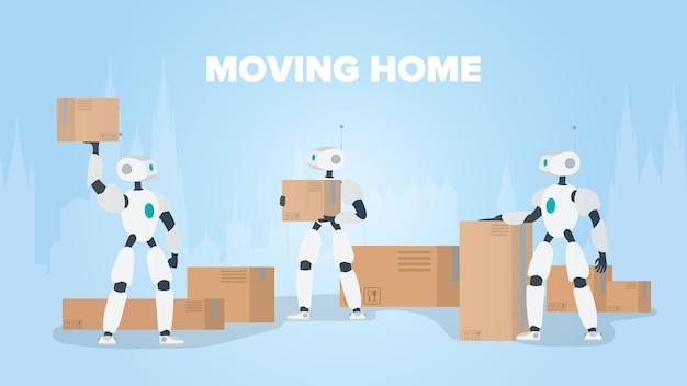 Movendo banner para casa. mudando para um novo lugar. um robô branco segura uma caixa.