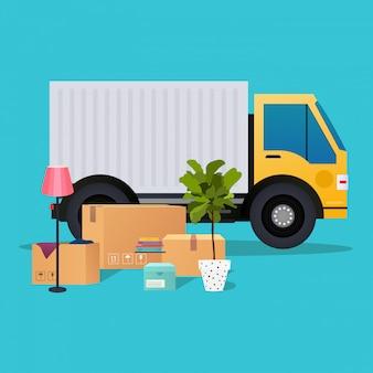 Movendo caminhão e caixas de papelão. mudança de casa. companhia de transporte.