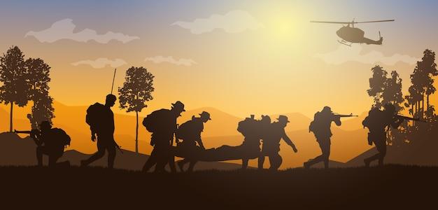 Movendo feridos, ilustração militar, fundo do exército, silhuetas de soldados, artilharia, cavalaria, aerotransportado, exército médico.