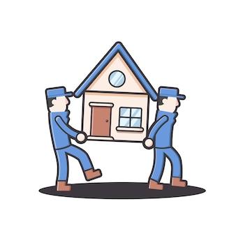 Mover e realocar a empresa de trabalhadores da casa