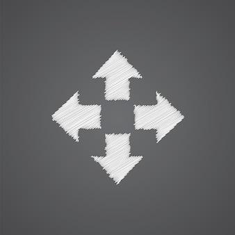 Mover o ícone do esboço do logotipo do doodle isolado em fundo escuro