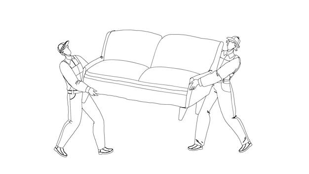 Movers carregam sofá e movem-se para o vetor de desenho de lápis de linha preta de nova casa. homens de trabalhadores de serviço de transporte e movimento movendo o sofá e as caixas. personagens carregando móveis e ilustração em papelão