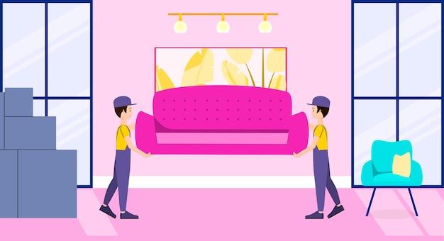 Movers trazem o sofá para dentro de casa design plano do movimento