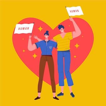 Movimento de gênero neutro com homem e mulher