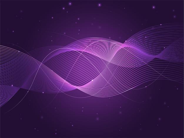 Movimento de linhas de onda abstrata em fundo de efeito de luzes roxas.