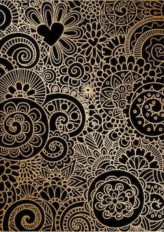Movimento de mandala em linhas douradas em preto