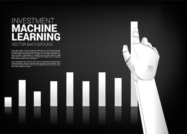 Movimento de mão de robô puxar gráfico de negócios maior