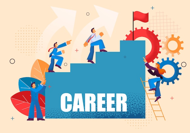 Movimento up carreira escada para os trabalhadores de escritório.