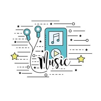 Mp3 com fones de ouvido para ouvir e tocar música