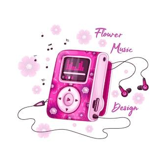 Mp3 player para música com design floral rosa brilhante e fones de ouvido.