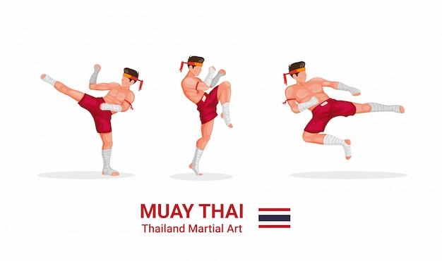 Muay thai - arte marcial tradicional de boxe tailandês da coleção de figuras de tailândia