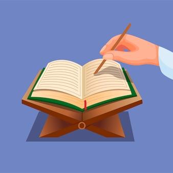 Muçulmano lendo alcorão. mão com livro aberto atividades de oração do alcorão no conceito de religião do islã na ilustração dos desenhos animados