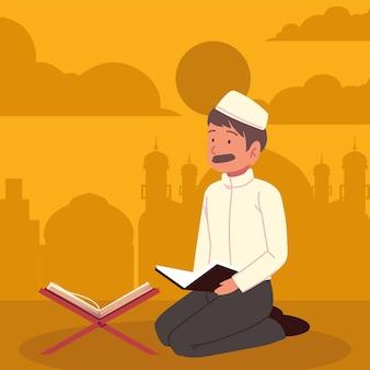 Muçulmano orando a alá com alcorão