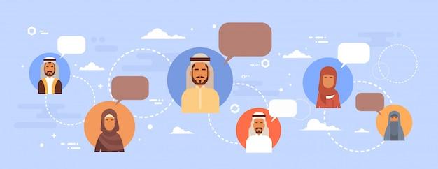 Muçulmano, pessoas, falando, bate-papo, mídia, comunicação social, rede, árabe, homens, e, mulheres