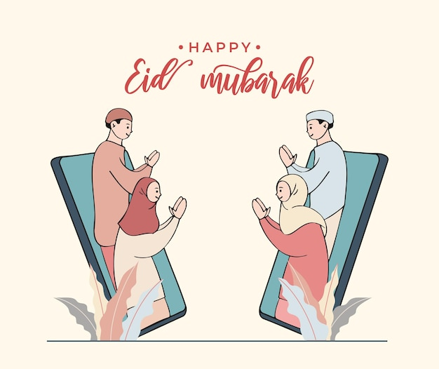 Muçulmanos abençoando eid mubarak uns aos outros usando videochamada, comunicação online durante a pandemia