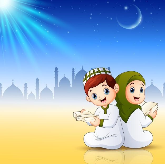 Muçulmanos crianças lendo livros sobre fundo abstrato brilhante