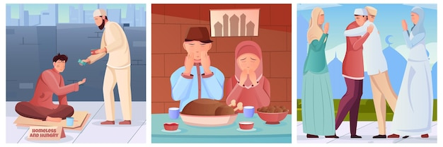 Muçulmanos fazendo caridade e orando antes da saudação iftar durante o ramadã