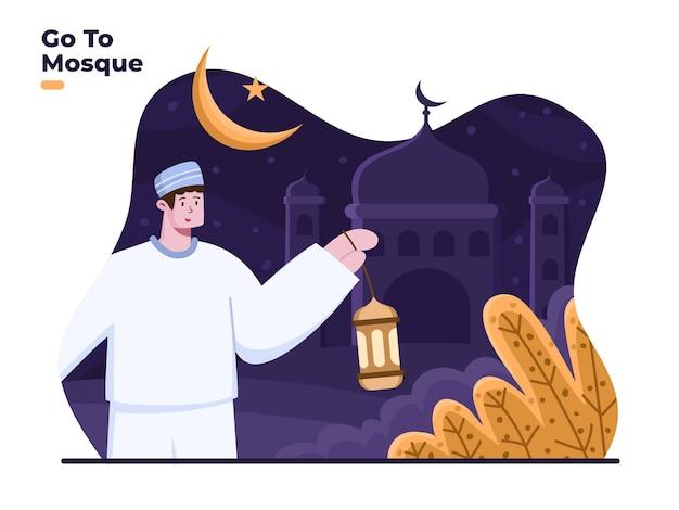 Muçulmanos indo à mesquita com trazer lanterna