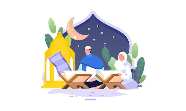 Muçulmanos lendo e aprendendo a ilustração do alcorão