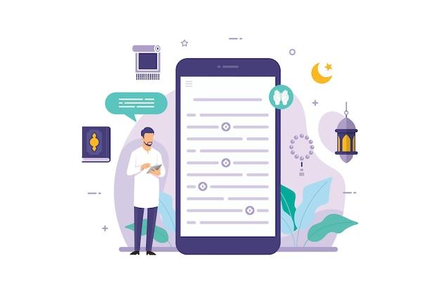 Muçulmanos lendo o alcorão no aplicativo móvel do smartphone