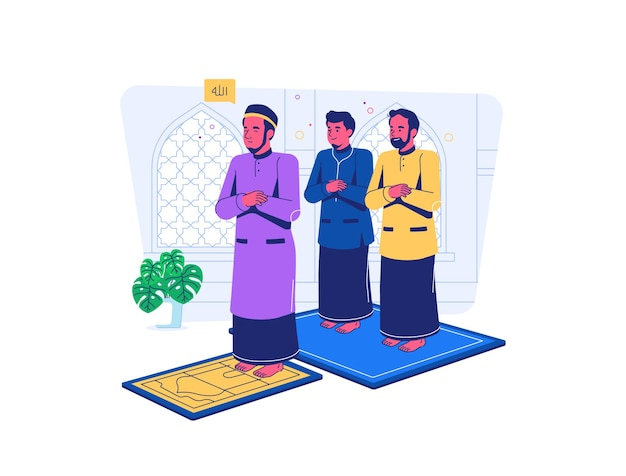 Muçulmanos oram em congregação na mesquita durante a covid19 situação de pandemia estilo cartoon plana