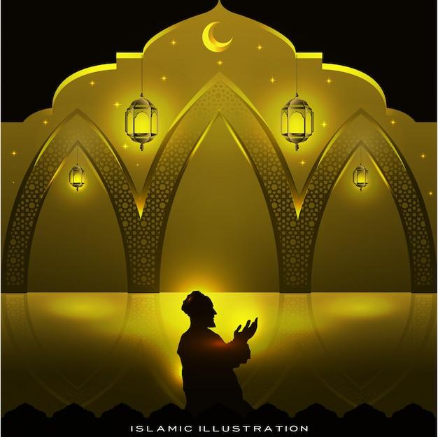 Muçulmanos rezam à noite com brilhos e lanternas, lua e estrelas
